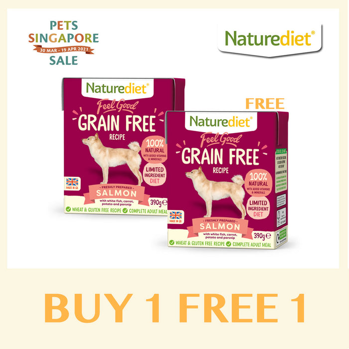 [Pets Singapore Sale - BUY 1 FREE 1] Naturediet Feel Good Grain Free Salmon Wet Dog Food 390g