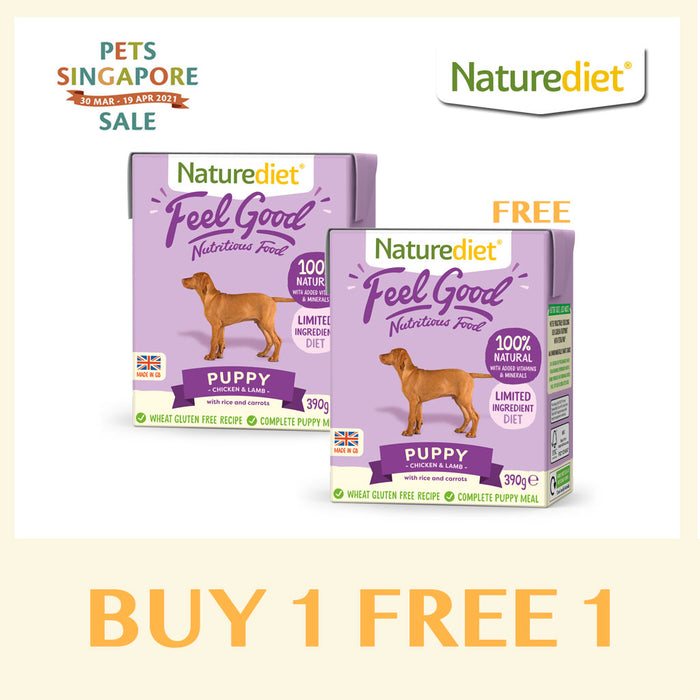 [Pets Singapore Sale - BUY 1 FREE 1] Naturediet Feel Good Puppy Wet Dog Food 390g