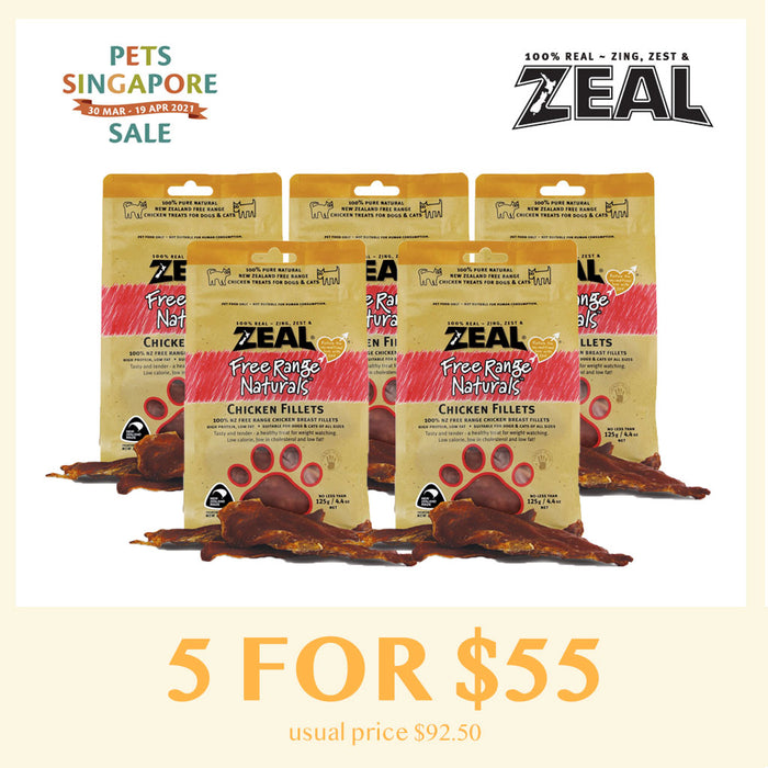 [Pets Singapore Sale - 5 FOR $55] Zeal Chicken Fillets Cat & Dog Treat 125g