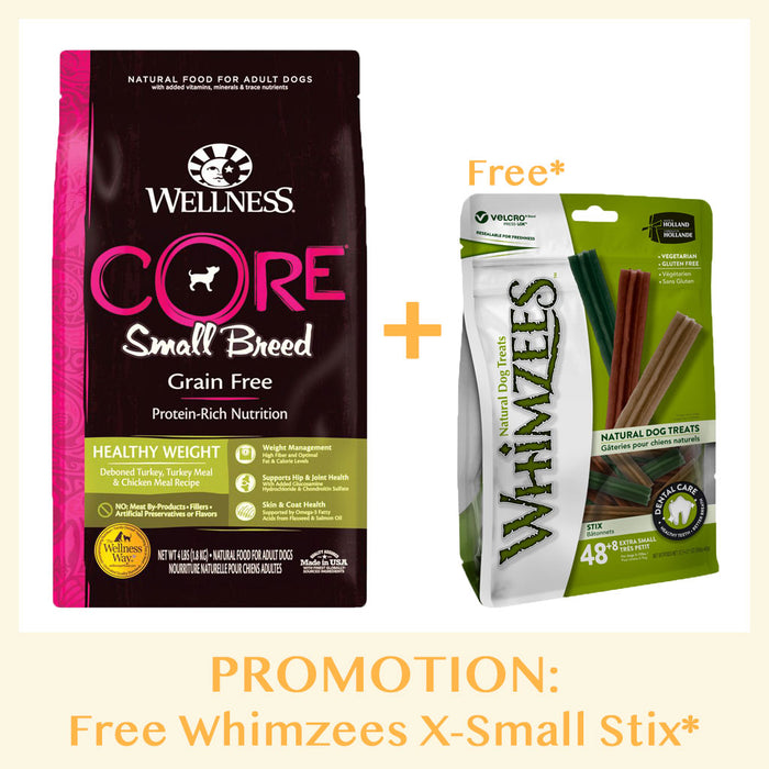 [PROMO: Free Whimzees Treats*] Wellness Core Small Breed Grain Free Healthy Weight Dry Dog Food