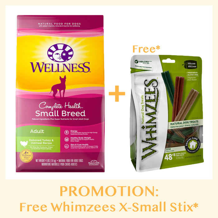 [PROMO: Free Whimzees Treats*] Wellness Complete Health Small Breed Adult Deboned Turkey & Oatmeal Dry Dog Food