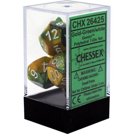 Chessex Dice Gemini Polyhedral 7-Die Set Gold-Green/White (CHX 26425) - Collector's Avenue