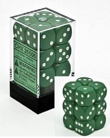 Chessex Dice Opaque Green/White 12 d6 (CHX 25605) - Collector's Avenue