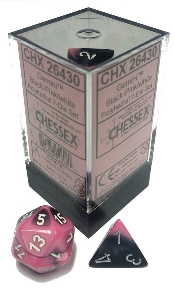 Chessex Dice Gemini Polyhedral 7-Die Set Black-Pink/White (CHX 26430) - Collector's Avenue