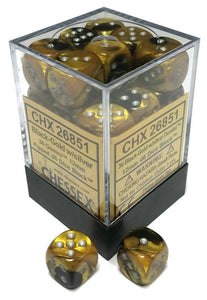 Chessex Dice Gemini Black-Gold and Silver - Set of 36 D6 (CHX 26851) - Collector's Avenue