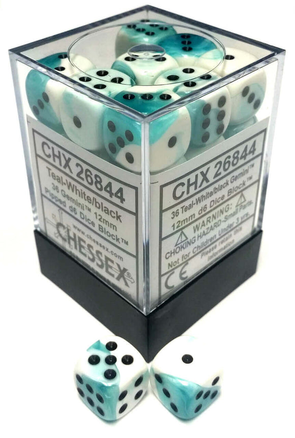 Chessex Dice Gemini Teal-White and Black - Set of 36 D6 (CHX 26844) - Collector's Avenue