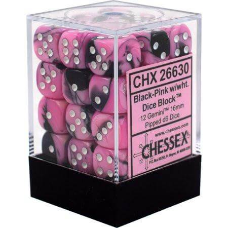 Chessex Dice Gemini Black-Pink and White - Set of 36 D6 (CHX 26830) - Collector's Avenue