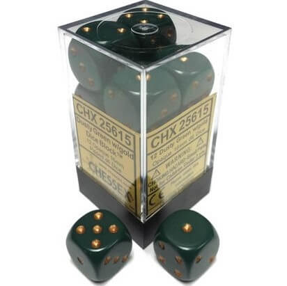 Chessex Dice Opaque Dusty Green/Copper 12 d6 (CHX 25615) - Collector's Avenue