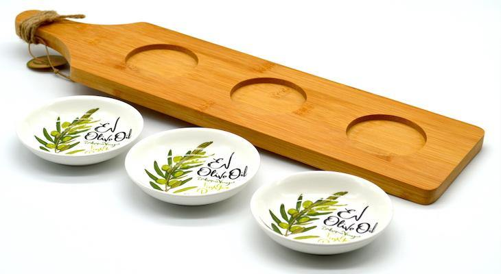 Serving Paddle with 3 Bowls