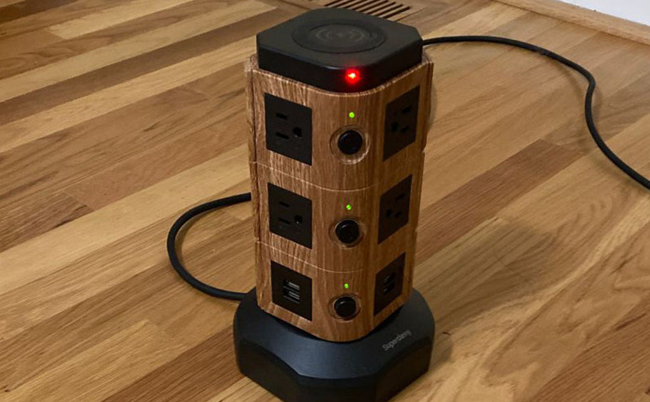 The gadgeteer review: SuperDanny Spin Tower review – The lazy Susan of power strips