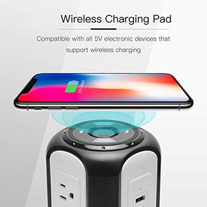 10ft Power Strip Tower Wireless Charger SUPERDANNY Surge Protector Extension Cord 10A 9-Outlet 4.5A 4 USB Fast Electrical Charging Station Universal Socket for Laptop Phone
