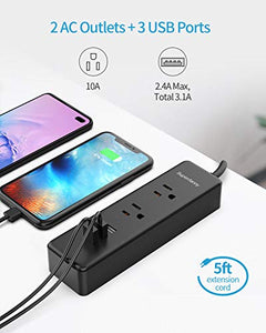 Power Strip with 6 Travel Adapters with 3 USB