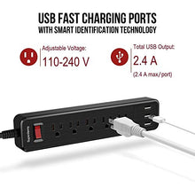 Load image into Gallery viewer, Power Strip USB Surge Protector 3 USB