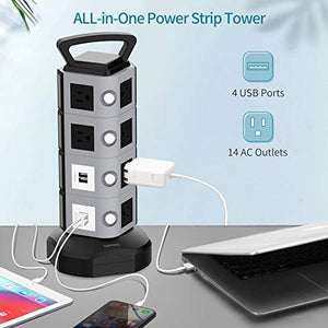 Surge Protector Tower with 9.8ft