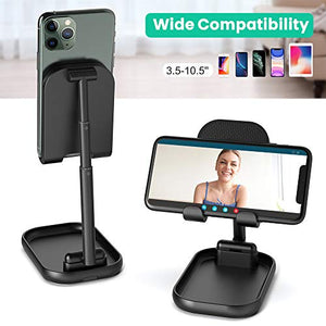 Cell Phone Stand, SUPERDANNY Height & Angle Adjustable Cellphone Holder with Extra Storage Room, Foldable Portable Desktop Tablet Dock Compatible with iPad, iPhone, Smartphone, Nintendo Switch, Black