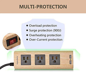 Surge Protector Power Strip 9.8ft Extension Cord 3 Outlet 2 USB Wood Grain