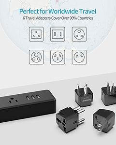 ETL Approval Power Strip with 6 Travel Adapters, SUPERDANNY 3 Prong Grounded Plug with 3 USB Charging Ports & 5ft Extension Cord, Worldwide Adaptor for The US to Australia, Africa, India, Japan, etc.