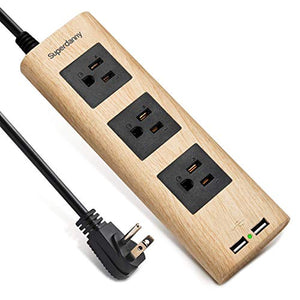 Surge Protector Power Strip 9.8ft Extension Cord 3 Outlet 2 USB Desktop Charging Station Fire-Retardant with Cable Tie Adjustable Voltage for iPhone iPad Computer Home Office Vintage Wood Grain