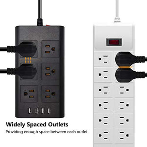 15A 14AWG Surge Protector Power Strip 4 USB Black