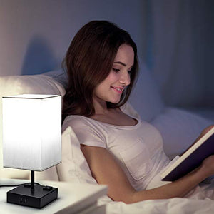 Touch Control Table Lamp with USB and AC Outlet White