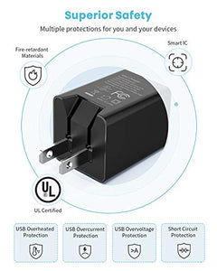 UL Listed USB Wall Charger 2 Pack with 3.28ft Lightning Cable & Type-C Cable