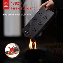 Load image into Gallery viewer, 9.8ft Piggyback Plug USB Power Strip Surge Protector 4 USB