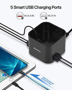 SUPERDANNY 5-Port USB Charging Station with Wireless Pad & Phone Holder, Charger Stand Compatible with Apple Watch Series 5/4/3/2/1(44/42/40/38mm), iPhone X/XR/11, iPad, Samsung Galaxy/Note, Black
