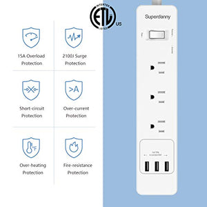 15A Mountable Surge Protector Power Strip
