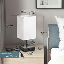 Load image into Gallery viewer, Touch Control Table Lamp with USB and AC Outlet White