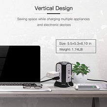 Load image into Gallery viewer, 10ft Power Strip Tower Wireless Charger