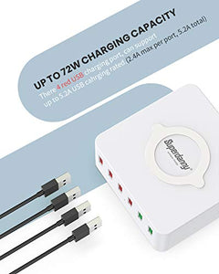 6 USB Charger with Wireless Charging Station, White