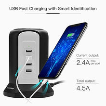 Load image into Gallery viewer, 10ft Power Strip Tower Wireless Charger SUPERDANNY Surge Protector Extension Cord 10A 9-Outlet 4.5A 4 USB Fast Electrical Charging Station Universal Socket for Laptop Phone
