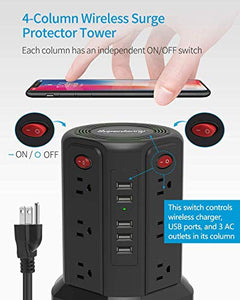 Surge Protector Tower with 5W Wireless Charger