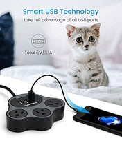 Load image into Gallery viewer, SUPERDANNY Paw Shape Power Strip with USB Ports 5ft Extension Cord for Home Office Hotel