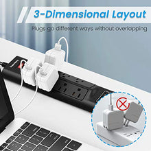 Load image into Gallery viewer, Wide Spaced Power Strip Surge Protector with USB