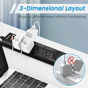 Wide Spaced Power Strip Surge Protector with USB