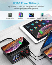 将图片加载到图库查看器,Multiple USB Charger with 18W PD Port, SUPERDANNY 10W Wireless Pad with USB C Port & Quick Charge 3.0 & LED Display, 8-Port Desktop Charging Station for iPhone 11 Pro/iPad Pro/MacBook Pro, Black