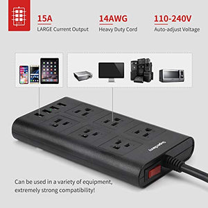 9.8ft Piggyback Plug USB Power Strip Surge Protector 4 USB