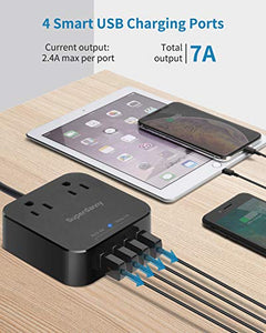 USB Power Strip with 4-Ports (7Amps) and 2 Wide Spaced AC Outlets, SUPERDANNY 5FT Extension Cord Home Nightstand Office Desktop Charger Station for iPhone iPad Computer, Black