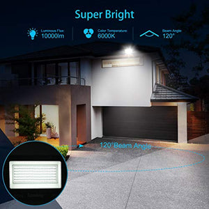 2 Pack 100W LED Flood Light Outdoor with Plug, SUPERDANNY 6000K Daylight White Floodlight Work Light IP66 Waterproof 10000LM Super Bright Security Light for Backyard Garage Yard Garden Basketball Etc.