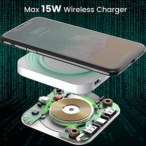 Ultra-Slim Wireless Charger with 1 Type C Port White
