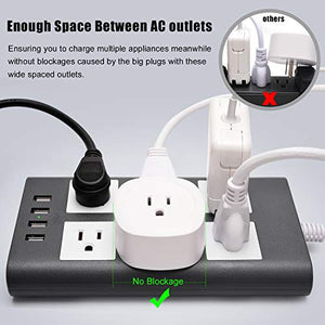 Power Strip Flat Plug Gray White