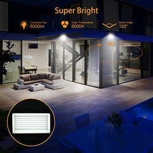 2 Pack 50W LED Flood Light Outdoor with Plug, SUPERDANNY 6000K Daylight White Floodlight Work Light IP66 Waterproof 5000LM Super Bright Security Lights for Backyard Garage Yard Garden Basketball Etc.