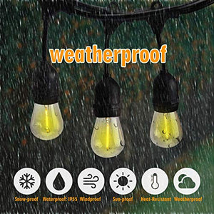 52FT Shatterproof LED Outdoor String Lights 30pcs Plastic Bulb