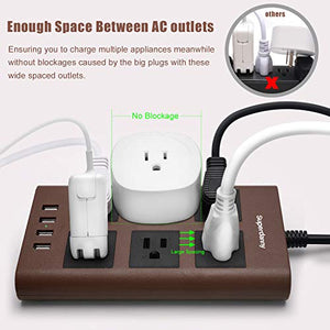 Power Strip Flat Plug Dark Brown