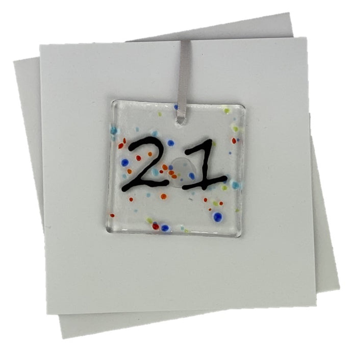 21st birthday card with fused glass art with number 21 on the front
