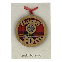 Load image into Gallery viewer, Happy 30th Lucky Sixpence Hanging wooden wall plaque with red tartan background