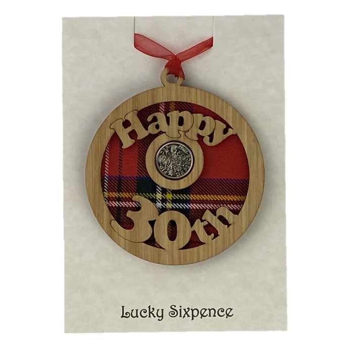 Happy 30th Lucky Sixpence Hanging wooden wall plaque with red tartan background