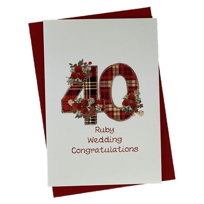 Ruby Wedding Aniversary Card with Tartan and Floral Design
