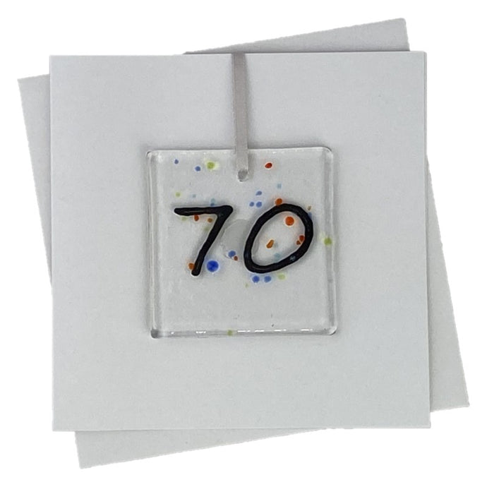 70th birthday card with fused glass art with number 70 on the front